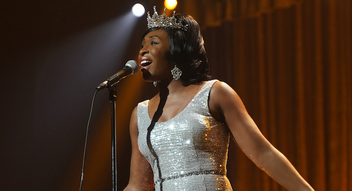 """Aretha Franklin, played by Cynthia Erivo, performs on stage after being crowned """"Queen of Soul"""". (Credit: National Geographic/Richard DuCree)"""