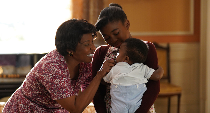 Grandmother Rachel (L), played by Pauletta Washington, with Little Re, played by Shaian Jordan, and her baby, Clarence. (Credit: National Geographic/Richard DuCree)