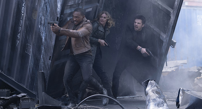 Anthony Mackie, Emily Van Camp, and Sebastian Stan in THE FALCON AND THE WINTER SOLDIER episode 103