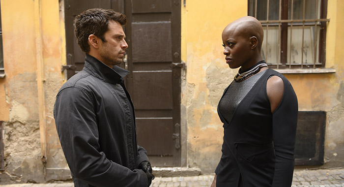 Winter Soldier/Bucky Barnes (Sebastian Stan) and Ayo (Florence Kasumba) in Marvel Studios' THE FALCON AND THE WINTER SOLDIER