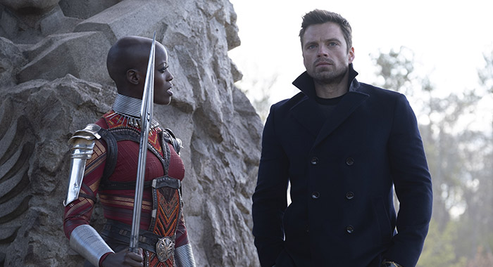 Florence Kasumba and Sebastian Stan in Marvel Studios' THE FALCON AND THE WINTER SOLDIER