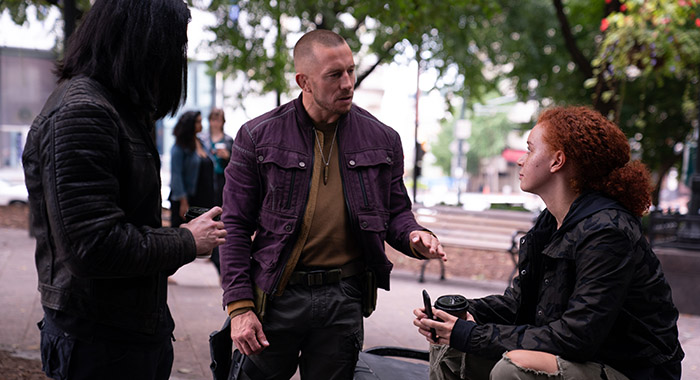 Desmond Chiam, Georges St-Pierre, and Erin Kellyman in THE FALCON AND THE WINTER SOLDIER