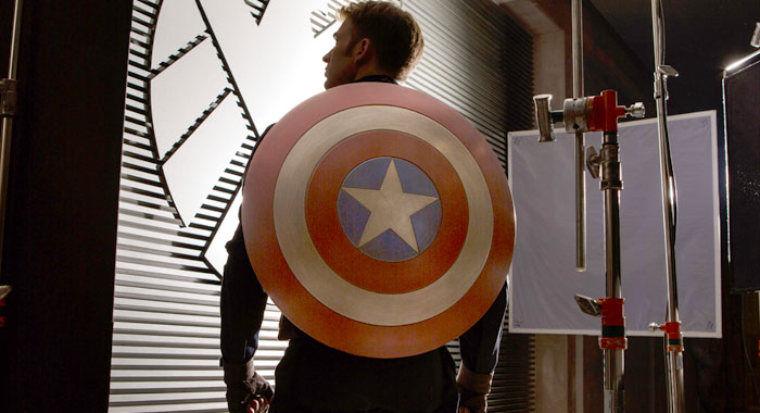 Chris Evans on the set of Captain America: The Winter Soldier