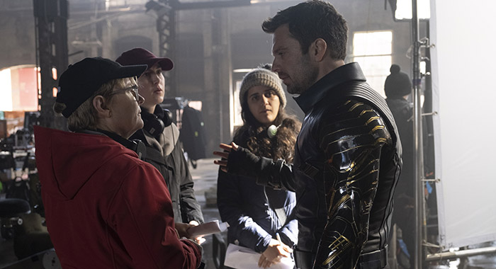 Director Kari Skogland and Sebastian Stan on the set of Marvel Studios' THE FALCON AND THE WINTER SOLDIER