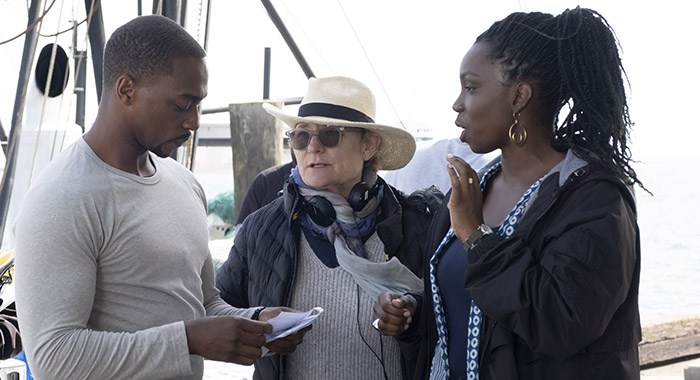 Anthony Mackie, Director Kari Skogland and Adepero Oduye on the set of Marvel Studios' THE FALCON AND THE WINTER SOLDIER