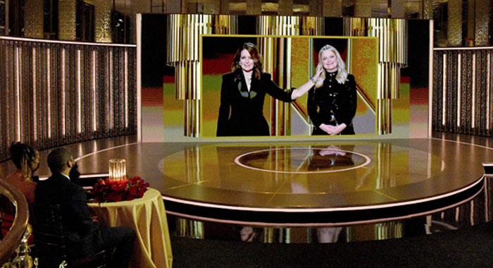 Tina Fey and Amy Poehler at the 2021 Golden Globes