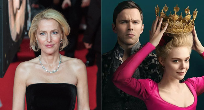 Gillian Anderson and The Great keyart with stars Nicholas Hoult and Elle Fanning