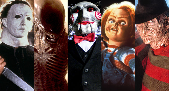 Halloween, Alien, Saw, Child's Play, and A Nightmare on Elm Street