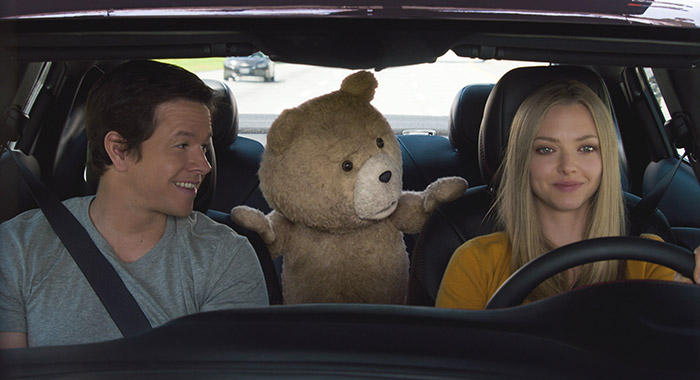 TED 2, from left: Mark Wahlberg, Ted (voice: Seth MacFarlane), Amanda Seyfried
