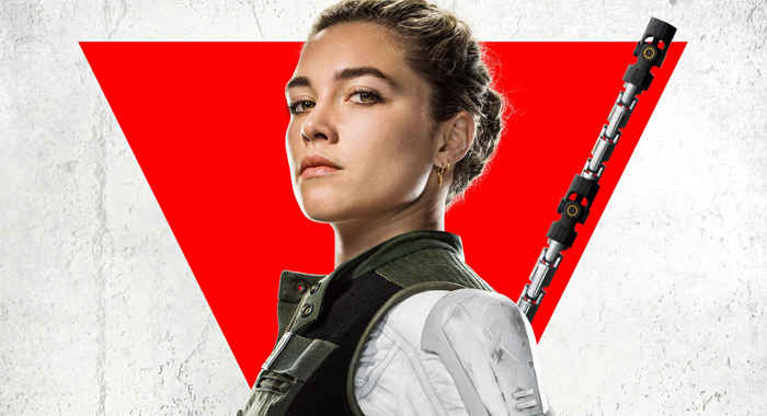 Florence Pugh on poster for Black Widow