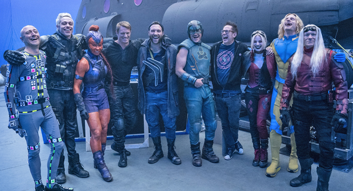 The Cast of The Suicide Squad on set
