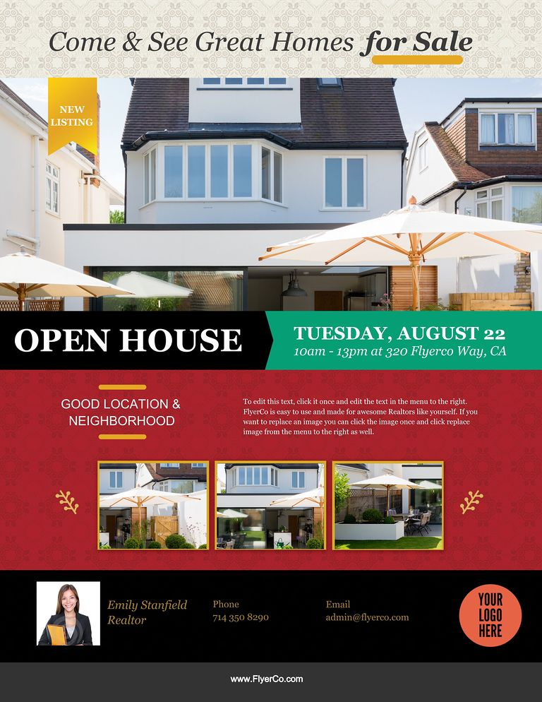 Real Estate Flyer and Postcard Templates by FlyerCo – Open House Flyers