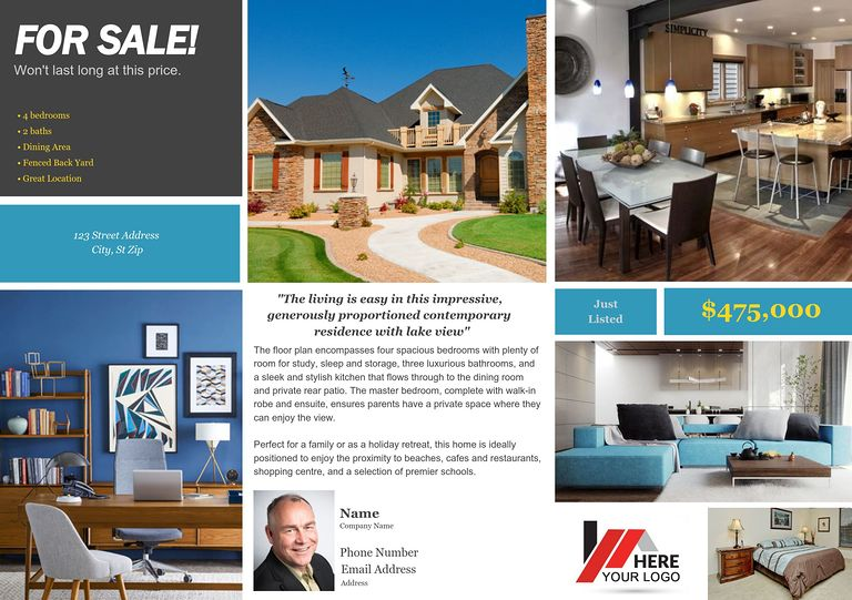 Jumbo Postcards (8in X 5in) Real Estate Postcard #8  Home For Sale Brochure