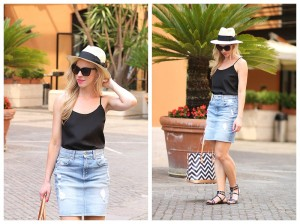 HM-straw-hat-with-black-bow-sash-black-camisole-and-denim-skirt-black-studded-sandals-7-for-all-mankind-distressed-denim-pencil-skirt-how-to-wear-a-denim-pencil-skirt-for-summer