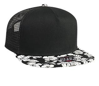 Superior Cotton Twill Hawaiian Pattern Flat Visor Pro Style Mesh Back Snapback Cap