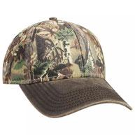 Camouflage Garment Washed Cotton Blend Twill w/ Heavy Washed PU Coated Visor 6 Panel Low Profile Baseball Cap