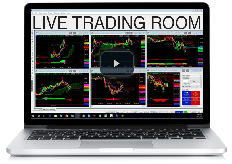 Laptop with Live Trading Room that links to Live Trading Room recording