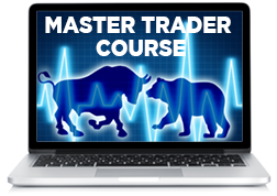 Image of laptop with Master Trader Course on Screen