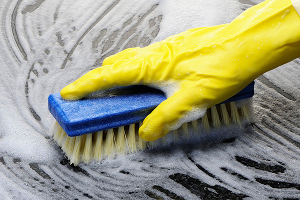 Gloved hand holding soapy scrub brush