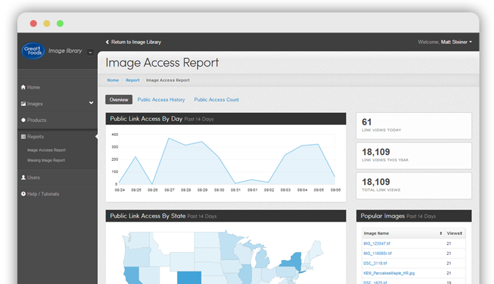 Preview of the FoodService Images dashboard