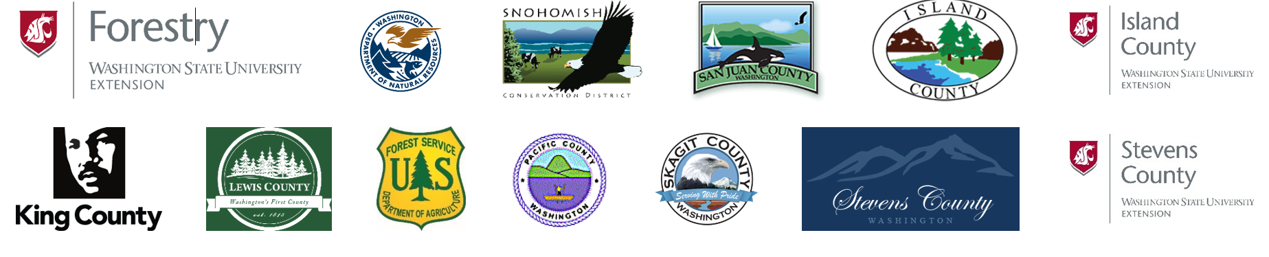Logos of: Washington State University, Washington State Department of Natural Resources, Island County and WSU Extension Island County, King Conservation District, King County, Lewis County, Pacific County, San Juan County, Skagit County, Stevens County, Snohomish Conservation District, USDA Forest Service, Washington State Department of Natural Resources, and the Renewable Resources Extension Act.
