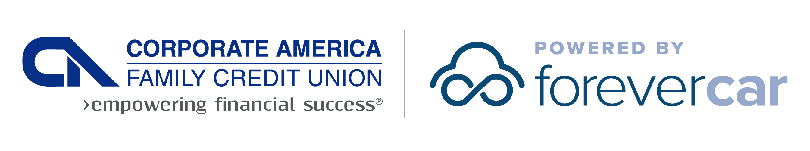 Corporate America Family Credit Union Powered by ForeverCar Logo