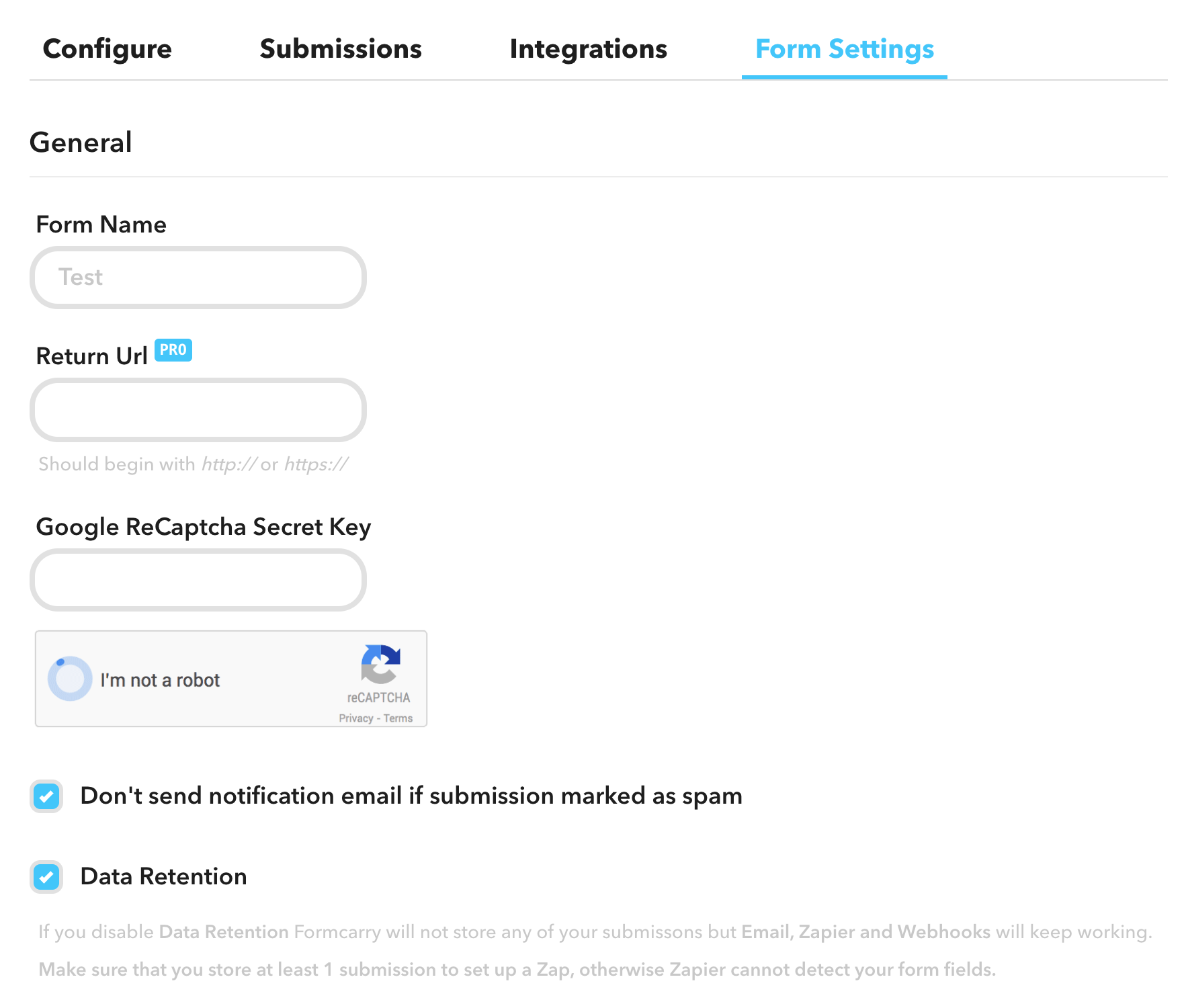 How to Integrate Google Recaptcha with Formcarry