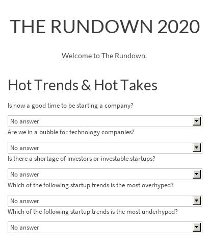 THE RUNDOWN 2020