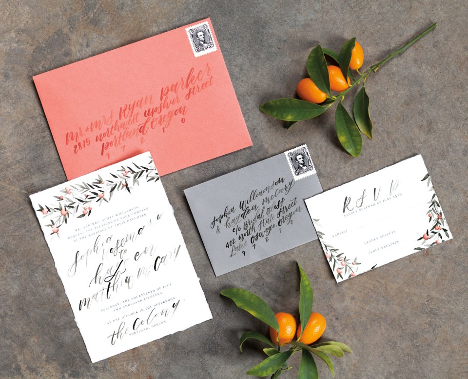wedding invitation, RSVP card, and envelope