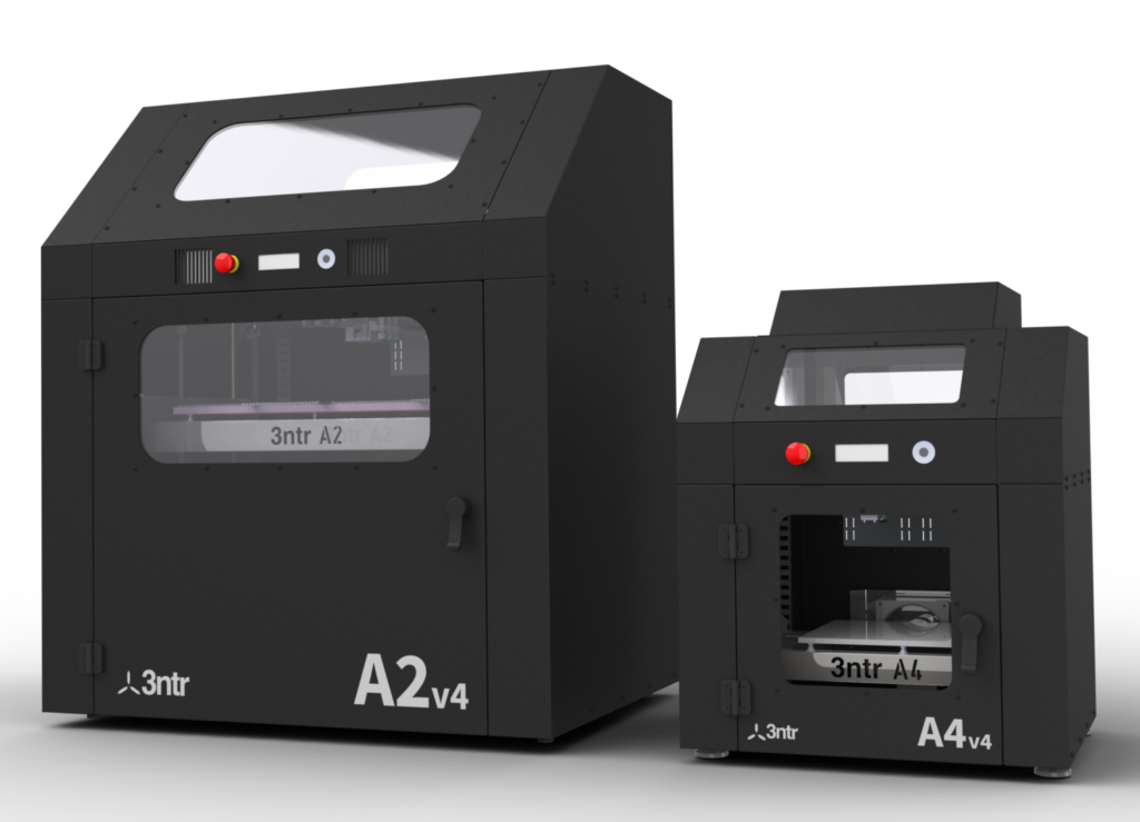 Industrial 3D printers from 3ntr. Models A2V4 and A4V4