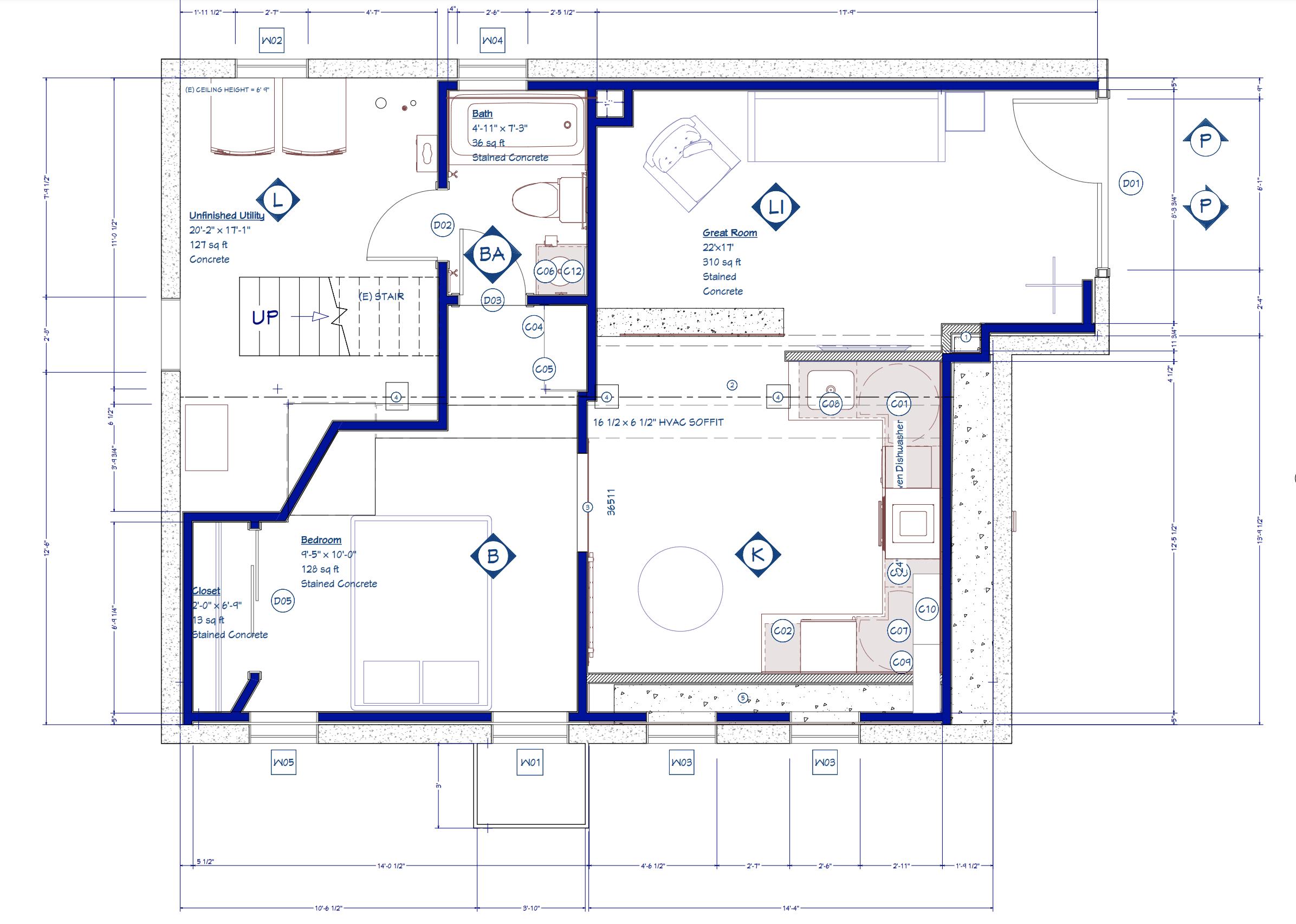 Hawthorne Basement Accessory Dwelling Unit floorplan