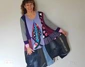 3x4x Plus size upcycled clothing for women Plus size clothing Recycled denim poncho Bohemian clothing Hippie boho dress tunic Upcycle dress