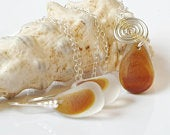 Amber Seaham Sea Glass jewellery set, Sea Glass necklace, Beach earrings, Seaham Sea Glass Silver pendant, Recycled 925 Silver,Eco friendly.