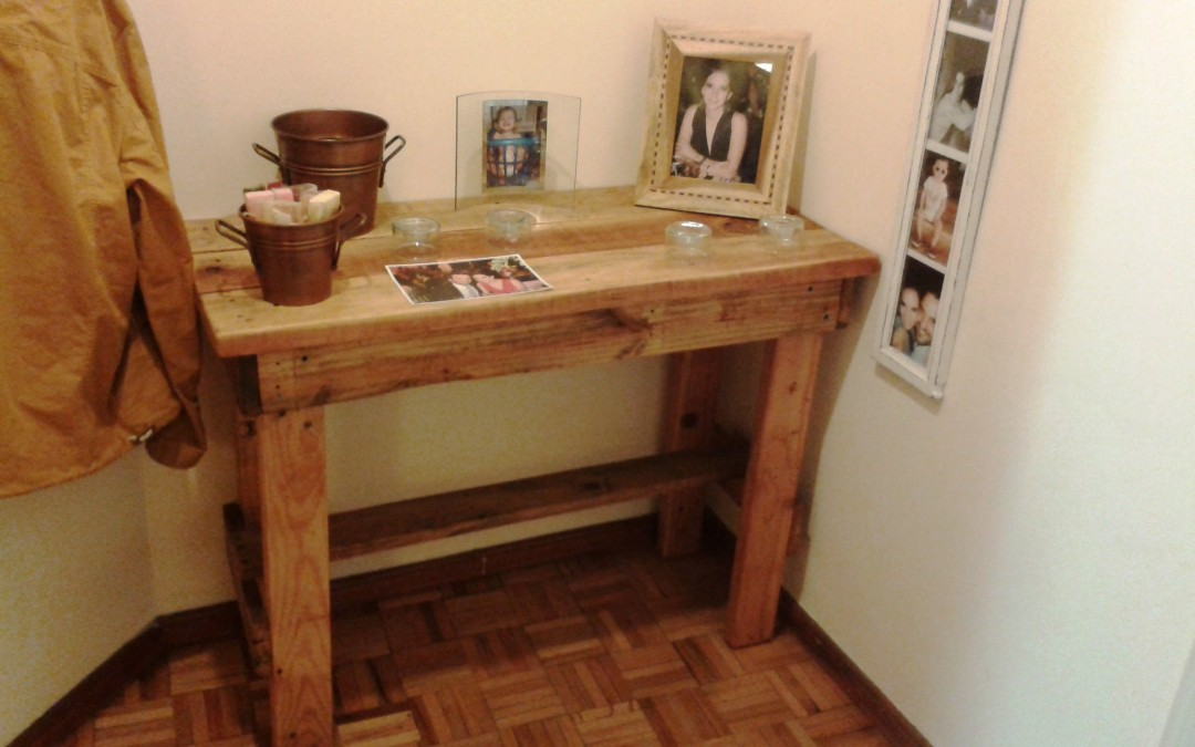 RECYCLED PALLET Espresso Desk, Do-it-yourself, COAT HANGER, Side Desk, Little BENCH