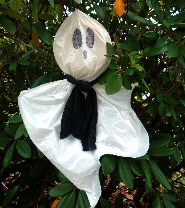 DIY – PLASTIC BAG HALLOWEEN GHOST, recycle, repurpose, reuse