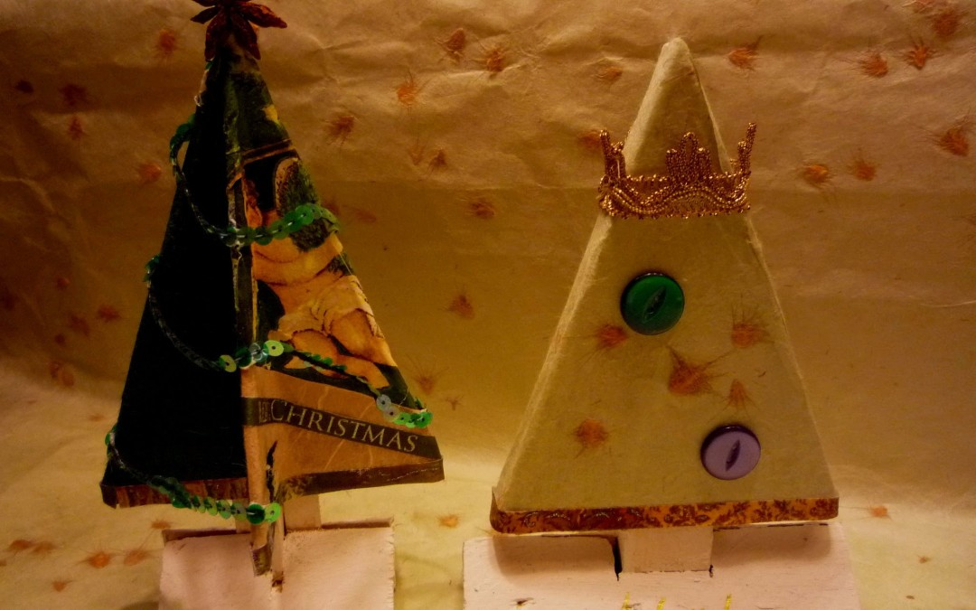Property-created Repurposed Wood & Fabric Xmas Decorations