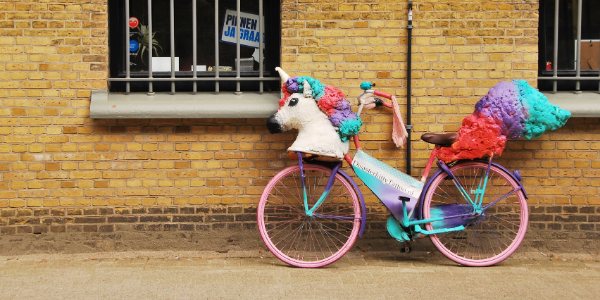 a unicorn on a bicycle near a window