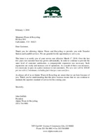 Alpine Waste Processing Fee Increase Letter
