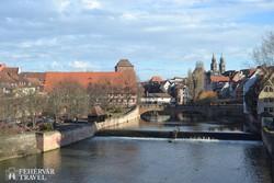 Nürnberg a Pegnitz folyó felől