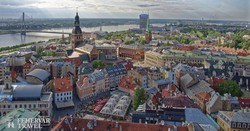 Riga óvárosa madártávlatból