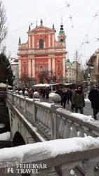 Ljubljana – a Ferences templom a Prešeren téren