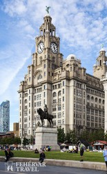 a Royal Liver Building épülete Liverpoolban