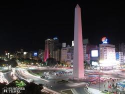Buenos Aires: az Obeliszk esti fények között