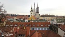 pillantás Zágrábra, háttérben a katedrális égbe szökő tornyai