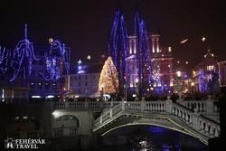 karácsonyi fények Ljubljanában
