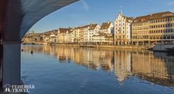 Zürich látképe a Limmat folyó partjáról