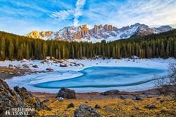 téli táj a Dolomitokban