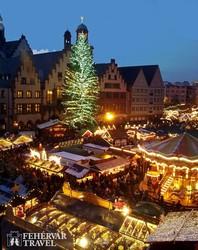 karácsonyi vásár Frankfurt főterén