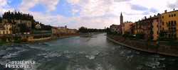 Verona városa az Adige folyó kanyarulatában – részlet