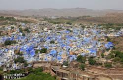 a messziről kéklő Jodhpur